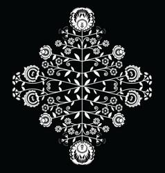 Polish folk inspired floral white pattern vector
