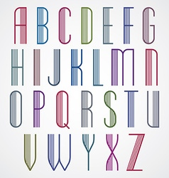 Poster colorful font on white background striped vector