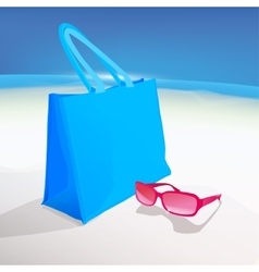 Beach bag and spectacles vector