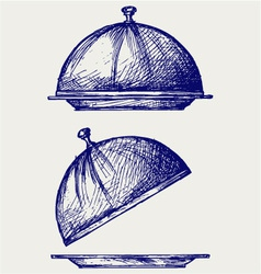 Cloche with open lid vector