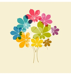 Abstract colorful tree on old paper background vector