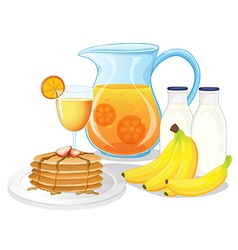 Healthy drinks and foods vector