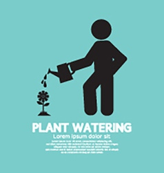 Plant watering with watering can vector