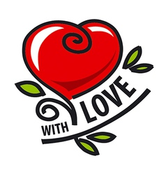 Logo red heart in the form of a flower vector