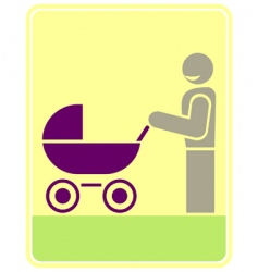 Man with pram vector