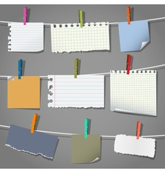 Various notes and a clothes pegs vector