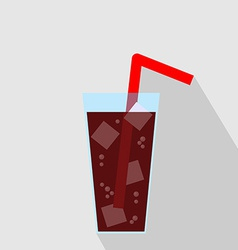 Glass of cola drink with ice flat icon vector