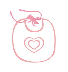 Pink baby bib with heart vector