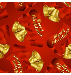 Seamless merry christmas bells wrapping paper patt vector