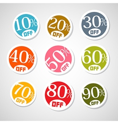 Colorful discount stickers labels set vector