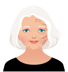 Elderly woman cosmetic rejuvenation vector