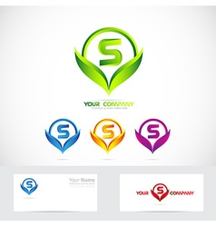 Letter s green leafs logo set vector