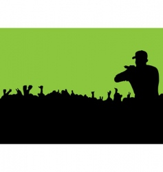 Silhouette concert crowd vector