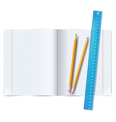 Exercise book with ruler vector