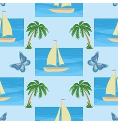 Ship palms and butterflies vector