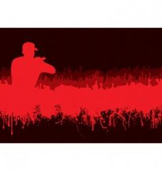 Silhouette rock concert crowd vector