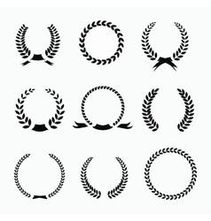 Set of black and white silhouette circular laurel vector