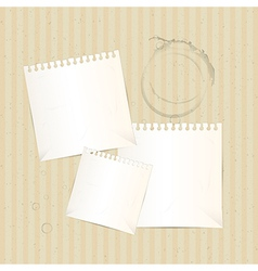 Paper sheets on dirty cardboard background vector