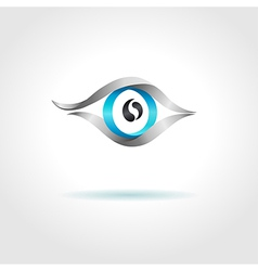 Abstract blue eye on gray background vector