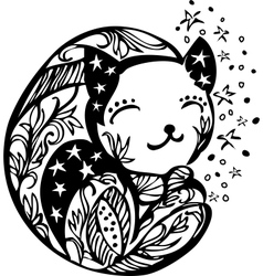 Ornate sleeping kitten silhouette vector