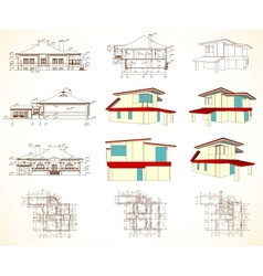 Set architectural objects vector
