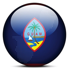 Map on flag button of guam vector