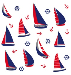 Seamless pattern with nautical elements vector