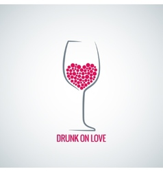 Wine glass love heart concept design background vector