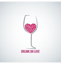 Wine glass love heart concept design background vector