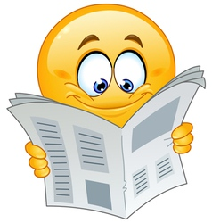 Emoticon with newspaper vector