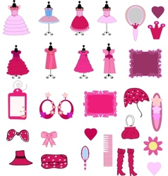 Cute dress and accessories vector
