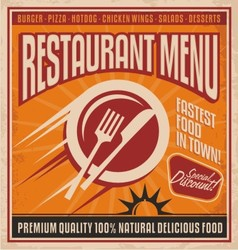 Retro poster template for fast food restaurant vector