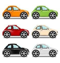Mini car with big wheels six colors vector