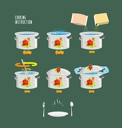 Instruction cooking set pots infographics vector