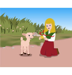 Lamb-and-a-girl-pw vector