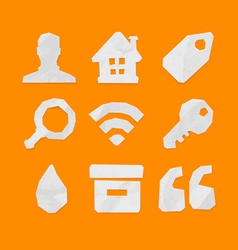 Paper cut icons for web and mobile applications vector