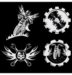 Set of bikers theme emblems with skullflames and vector