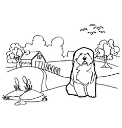 Coloring book with dog and landscape vector