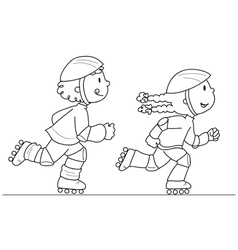 Two young skaters vector