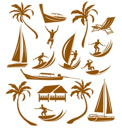 Summer silhouettes vacation vector
