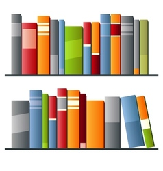 Books in a row on white background vector