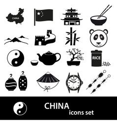 China theme black icons set eps10 vector