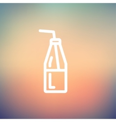 Bottle of milk with straw thin line icon vector