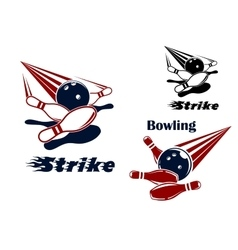 Bowling strike emblems with balls and ninepins vector