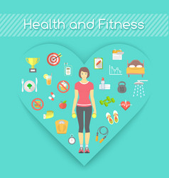 Woman health and fitness infographics vector