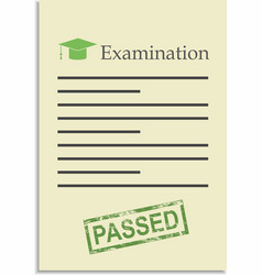 Examination paper with passed stamp vector