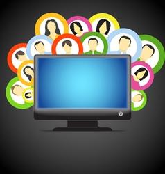 Monitor and social media members icons vector