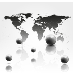 World mab background with 3d spheres vector