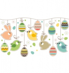 Seamless easter border with rabbits vector