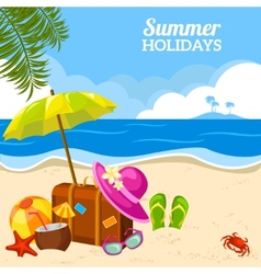 Summer seaside view on the beach poster vector